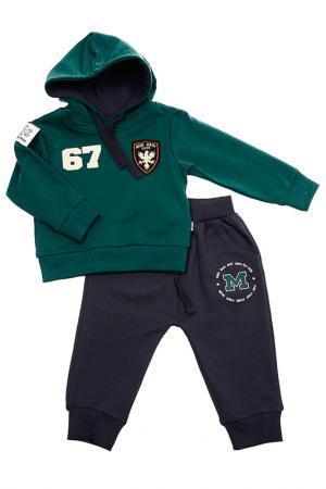 Комплект: толстовка, брюки MINI-MAXI. Цвет: зеленый
