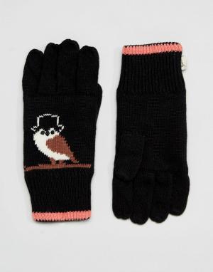 Yumi Перчатки с совами. Цвет: черный