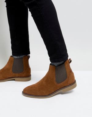 Burton Menswear Светло-коричневые ботинки челси из искусственной замши. Цвет: рыжий
