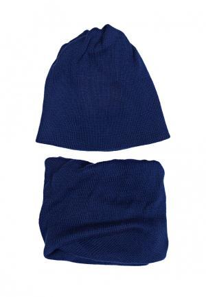 Комплект шапка и шарф FreeSpirit. Цвет: синий