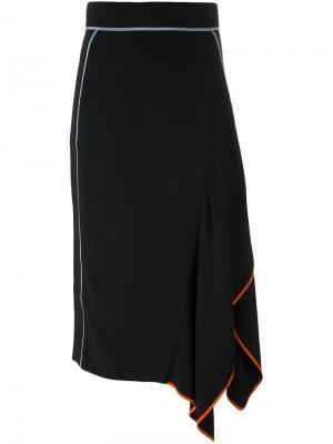 Асимметричная юбка миди Peter Pilotto. Цвет: чёрный