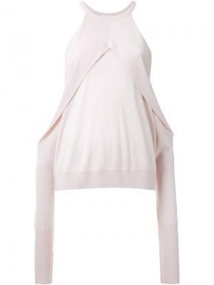 Свитер с открытыми плечами Dion Lee. Цвет: розовый и фиолетовый