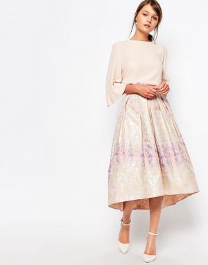 Closet London Пышная жаккардовая юбка. Цвет: мульти
