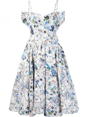 Floral print flared dress Jonathan Cohen. Цвет: белый