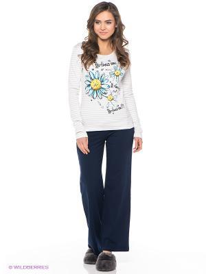 Пижама PELICAN. Цвет: темно-синий, светло-серый, белый
