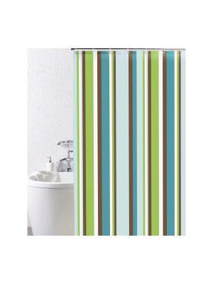 Штора для ванной IDDIS. Цвет: синий, голубой, зеленый