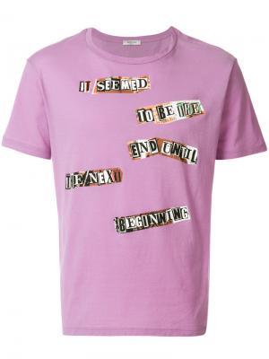 Футболка с принтом заплаток Valentino. Цвет: розовый и фиолетовый