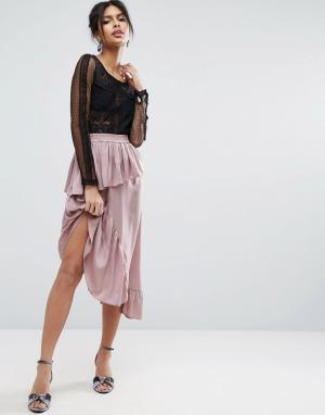 ASOS Атласная юбка миди. Цвет: коричневый