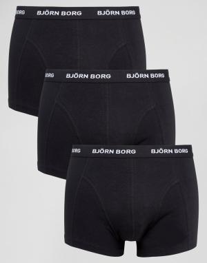 Bjorn Borg Набор из 3 черных боксеров-брифов. Цвет: черный