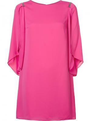 Draped sleeves shift dress Halston Heritage. Цвет: розовый и фиолетовый