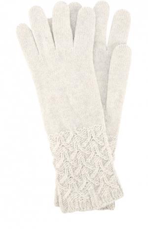 Перчатки из кашемира с фактурным узором Johnstons Of Elgin. Цвет: светло-серый