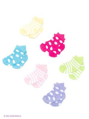 Носочки, 6 пар Luvable Friends. Цвет: салатовый, голубой, сиреневый, бледно-розовый, фуксия, желтый