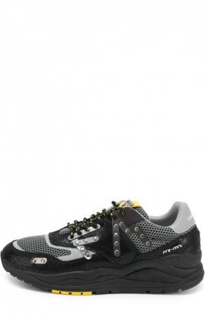 Кроссовки с кожаной отделкой на многослойной подошве Frankie Morello. Цвет: серый