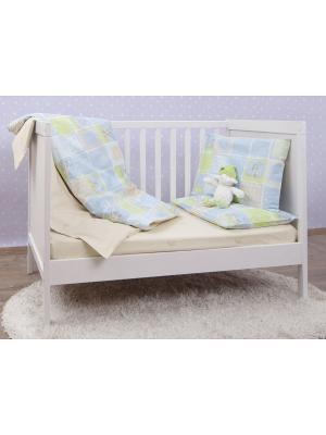 Постельное белье в кроватку MIRAROSSI. Цвет: голубой, светло-зеленый