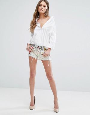 BLANK NYC Джинсовые шорты с рисунком брызги. Цвет: белый