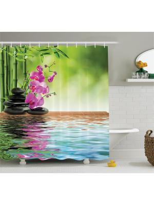 Фотоштора для ванной Цветы и стебли, 180*200 см Magic Lady. Цвет: серый, коричневый, розовый, зеленый