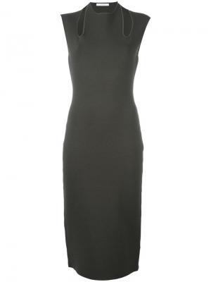 Платье-карандаш с вырезными деталями Dion Lee. Цвет: зелёный