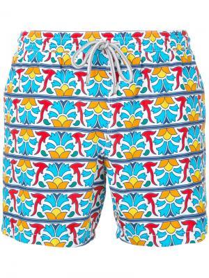 Пляжные шорты с геометрическим цветочным принтом Capricode. Цвет: многоцветный