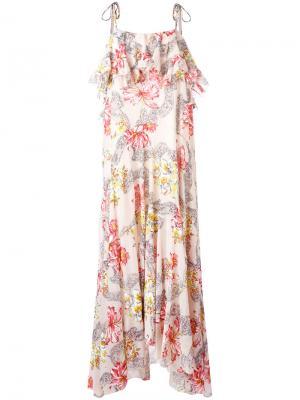 Длинное платье с цветочным принтом Philosophy Di Lorenzo Serafini. Цвет: телесный