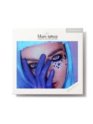 Клеящиеся кристаллы для лица Crystalzzz Stars in Blue Miami Tattoos. Цвет: синий, прозрачный, серебристый