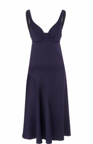 Приталенное платье-миди без рукавов Victoria Beckham. Цвет: темно-синий
