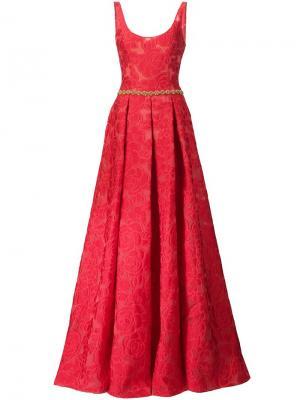 Платье с цветочным узором Marchesa Notte. Цвет: красный