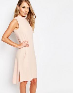 Closet London Свободное платье с отворачивающимся воротником. Цвет: розовый