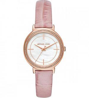 Часы с розовым кожаным ремешком Michael Kors