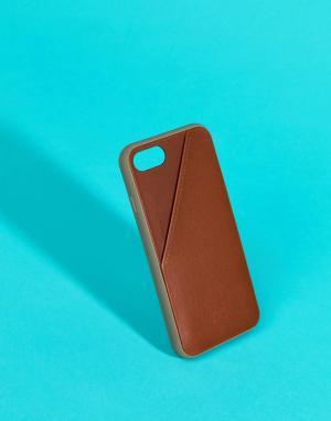 Native Union Светло-коричневый чехол для iPhone 7 с отделением карт Unio. Цвет: мульти
