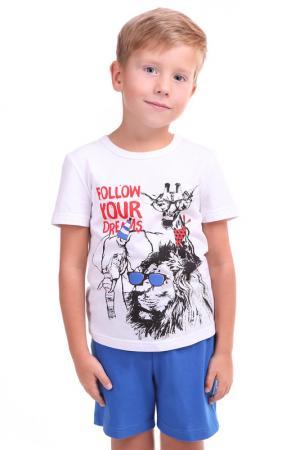 Костюм: футболка, шорты СВIТАНАК. Цвет: белый, голубой