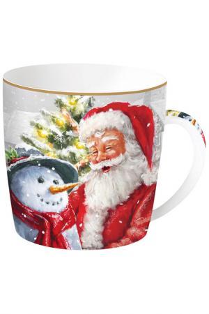 Кружка Дед Мороз и снеговик, 350 мл Easy Life. Цвет: красный, белый