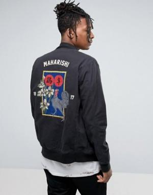 Maharishi Souvenir Jacket In Black With Embroidery. Цвет: черный