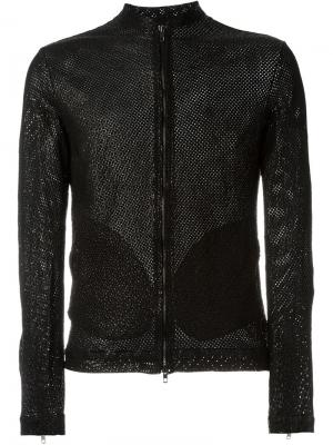 Кожаная куртка с перфорацией Salvatore Santoro. Цвет: чёрный