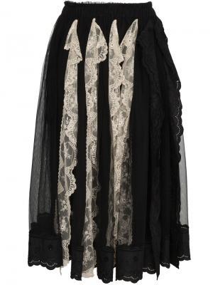 Плиссированная юбка с кружевной отделкой Simone Rocha. Цвет: чёрный