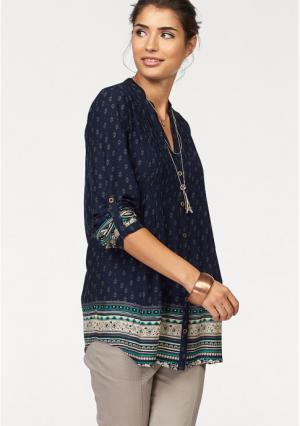 Удлиненная блузка BOYSENS BOYSEN'S. Цвет: темно-синий/бирюзовый