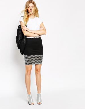 American Retro Облегающая юбка с отделкой металлик по краю. Цвет: черный