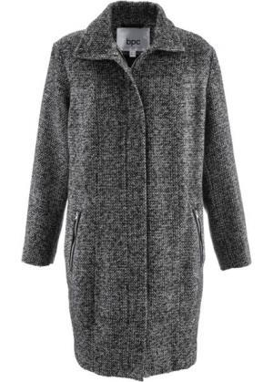 Пальто в дизайне под шерстяное (черный/серебристый меланж) bonprix. Цвет: черный/серебристый меланж