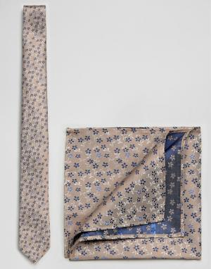 Burton Menswear Галстук и платок для нагрудного кармана кремового цвета с цветочным пр. Цвет: кремовый