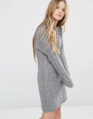 Moon River Платье-футболка с длинными рукавами. Цвет: серый