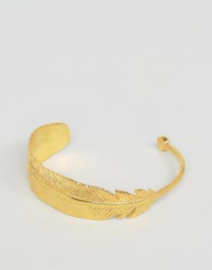 Ottoman Hands Браслет-манжета в виде пера. Цвет: золотой