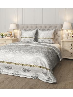Комплект постельного белья Камея, семейный Сирень. Цвет: коричневый, белый, серый