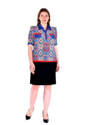 Блузка LikModa. Цвет: синий, бирюзовый, розовый