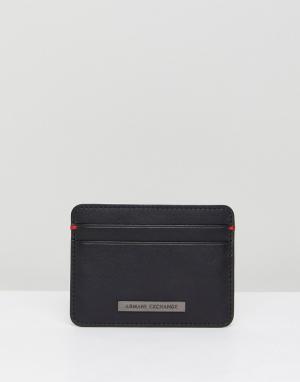 Armani Exchange Черный кожаный кошелек для карт. Цвет: черный