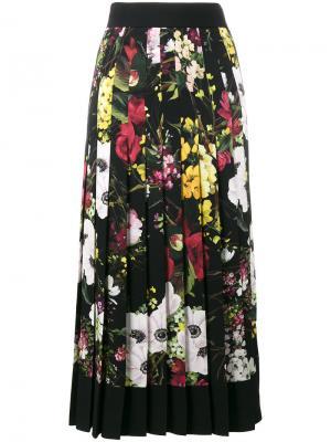 Плиссированная юбка с завышенной талией цветочным принтом Dolce & Gabbana. Цвет: чёрный
