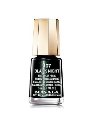 Лак для ногтей тон 107 Black Night Mavala. Цвет: черный
