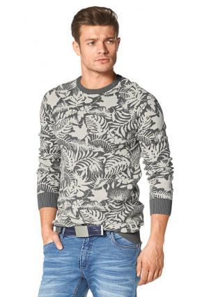 Пуловер JOHN DEVIN. Цвет: серый/молочно-белый