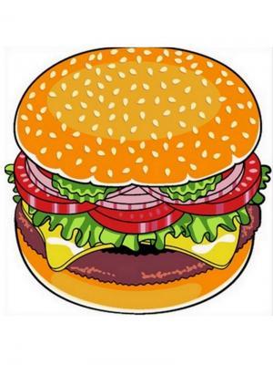 Пляжное полотенце Гамбургер Vaseli. Цвет: зеленый, красный, оранжевый