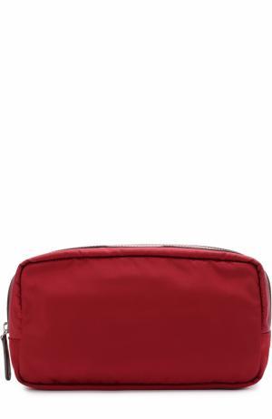 Текстильная косметичка с отделкой из кожи Anya Hindmarch. Цвет: бордовый