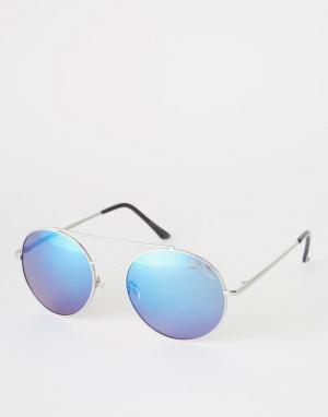Black Phoenix Круглые солнцезащитные очки с линзами в стиле ретро. Цвет: серебряный