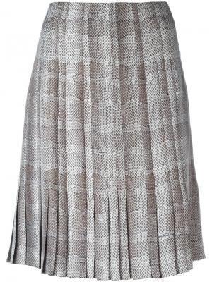 Плиссированная юбка с узором Salvatore Ferragamo. Цвет: красный